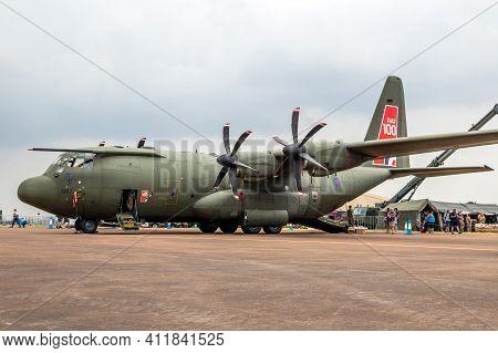 Fairford, Uk - Jul 13, 2018: Raf C-130j Hercules Transport Plane On The Tarmac Of Raf Fairford Airba