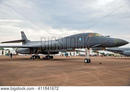 Us Air Force Rockwell B-1 Lancer Bomber Plane On The Tarmac Of Raf Fairford Airbase. Uk - July 13, 2