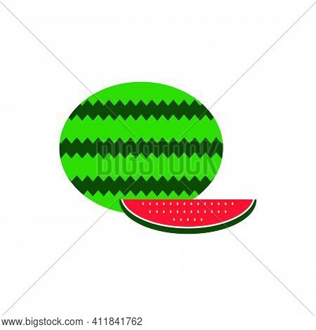 Flat Watermelon Icon And Flat Watermelon Slice Icon. Red Juicy Fruit Symbol. Logo Design Element