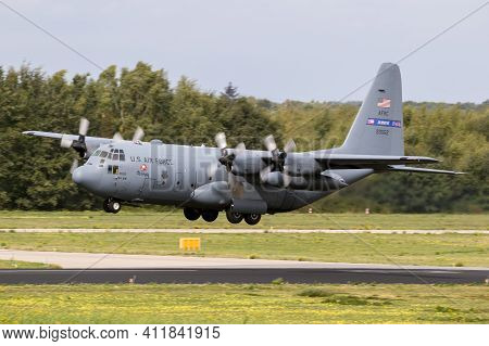Eindhoven, The Netherlands - Jun 22, 2018: Us Air Force Lockheed C-130h Hercules Transport Plane Fro