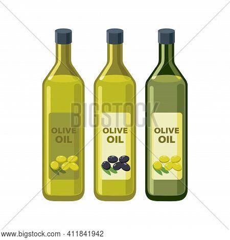 Olive Oil Bottles Set In Flat Design Vector Illustrations Isolated On White Background. Olive Oil Ic