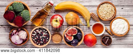 Products For Healthy Bowel. Natural Food For Gut.