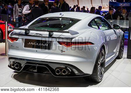Jaguar F-type Sports Car At The Paris Motor Show In Expo Porte De Versailles. France - October 3, 20