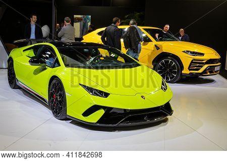 Lamborghini Huracan Performante Hypercar And Lamborghini Urus Suv Car At The Paris Motor Show In Exp