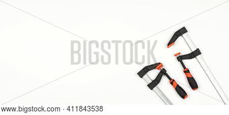 Iron Clamps. Tool. Clamps And Vices. On A White Background.