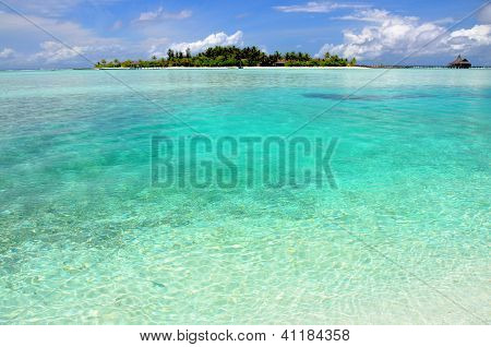 Tropical island in a turquoise lagoon