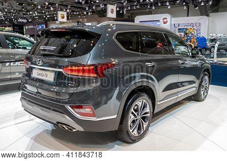 Hyundai Santa Fe Car At The Brussels Autosalon Motor Show. Belgium - January 18, 2019.
