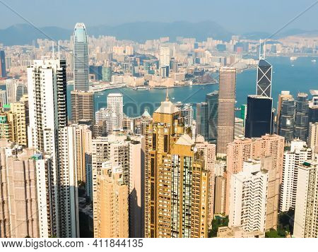 Hong Kong Skyscrapers Of The Central District Hong Kong And Victoria Harbor. View From Victoria Peak