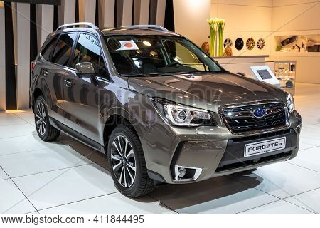 Subaru Forester Compact Crossover Suv Car At The Brussels Autosalon Motor Show. Belgium - January 18