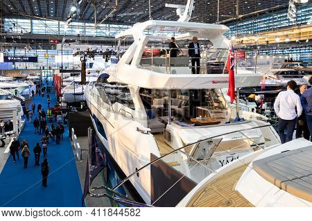 Dusseldorf, Germany - Jan 21, 2019: Visitors Viewing The Various Luxury Yachts Showcased During The