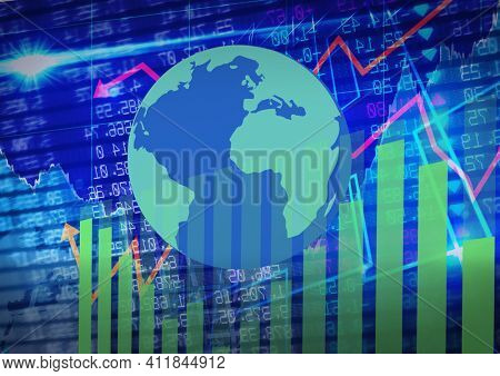 Globe over statistical and stock market data processing against blue background. global finance and economy concept