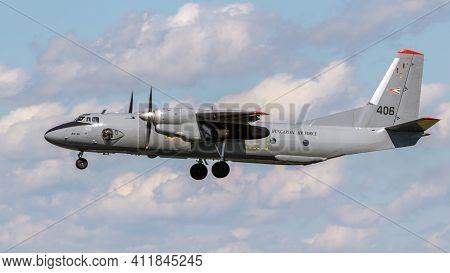 Jagel, Germany - Jun 13, 2019:hungarian Air Force Antonov An-26 Transport Plane Landing On Jagel Air