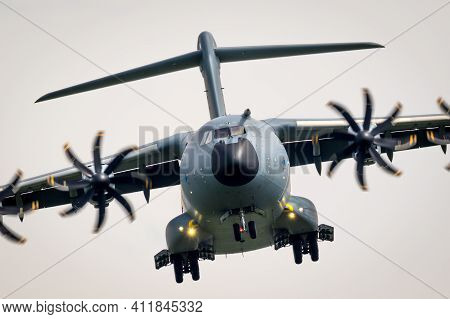 German Air Force Airbus A400m Transport Plane On Approach At Nordholz Airbase. Germany - June 14, 20