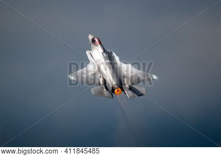 Volkel, Netherlands - Jun 15, 2019: Royal Netherlands Air Force Lockheed Martin F-35 Lightning Ii Fi