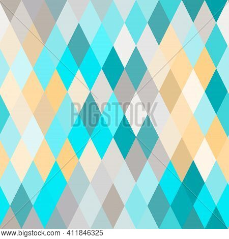 Seamless Lozenge Pattern Of Blue, Turquoise, Yellow Colors. Rhombus Repeating Background For Wrappin
