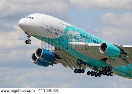 Airbus A380 Passenger Plane Taking Of From Paris Le Bourget Airport. France - June 21, 2019