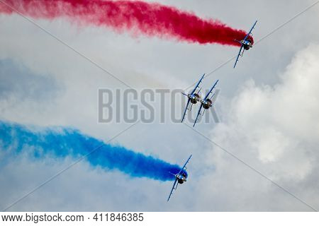 Le Bourget Paris - Jun 21, 2019: Patrouille De France Flying Demonstration Team Performing At The Pa