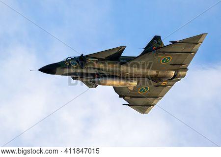 Sanicole, Belgium - Sep 13, 2019: Vintage Swedish Air Force Saab Viggen Fighter Jet Perforing At The
