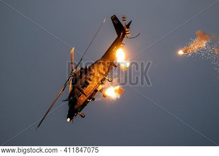 Sanicole, Belgium - Sep 13, 2019: Belgian Air Force Agusta A109 Helicopter Firing Flares During A Fl