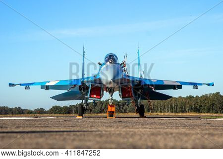 Kleine Brogel, Belgium - Sep 14, 2019: Ukrainian Air Force Sukhoi Su-27 Flanker Fighter Jet Aircraft