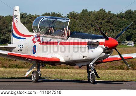 Croatian Air Force Pilatus Pc-9 Trainer Plane Taxiing At Kleine-brogel Airbase. Belgium - September