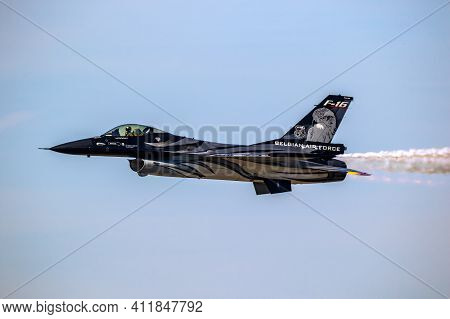 Special Airshow Painted Belgian Air Force F-16 Viper Fighter Jet In Flight. Belgium - September 14,