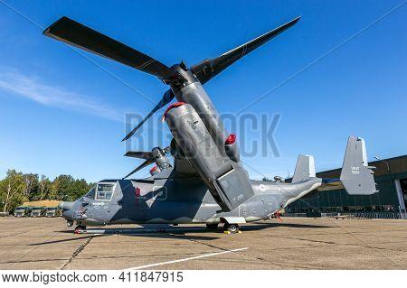 Kleine-brogel, Belgium - Sep 14, 2019: Us Air Force Bell Boeing V-22 Osprey Tiltrotor Plane On The T