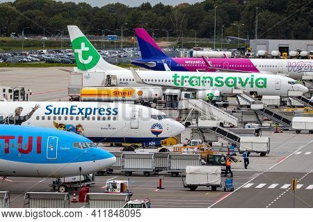Low-cost Airlines Passenger Planes On The Tarmac Of Eindhoven Airport. The Netherlands - October 12,