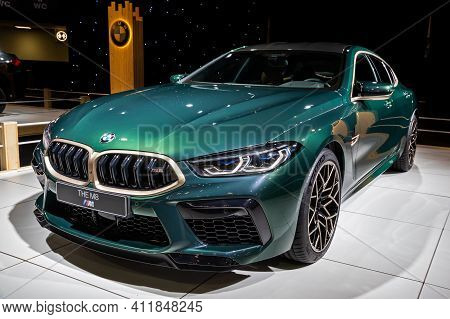 Bmw M8 Competition Gran Coupe Sports Car At The Autosalon 2020 Motor Show. Brussels, Belgium - Janua