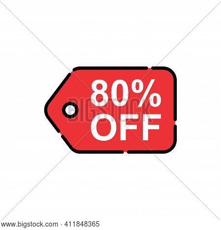 80% Sale Tag Vector Badge Template, 80% Sale Label Collection, Clearance Sale Sticker Emblem, Bargai