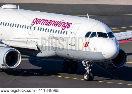 Eurowings Airbus A319 Passenger Plane Taxiing After Landing At Dusseldorf Airport. Germany - Februar