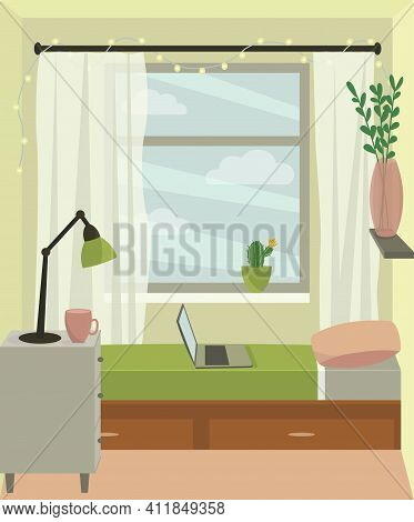 Interior Of A Cozy Bedroom With A Large Window. Girl's Room, Teenager's Room, Student's Room. Small