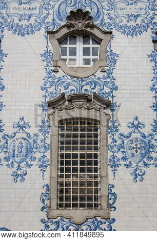 Window Of Carmo And Carmelitas Church In Porto. Detail Of Traditional Historic Facade In Porto Decor