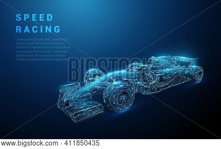 Abstract Fast Blue Racing Bolid. Speeding Racing Sport Car