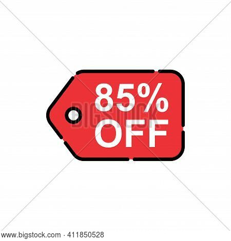 85% Sale Tag Vector Badge Template, 85% Sale Label Collection, Clearance Sale Sticker Emblem, Bargai