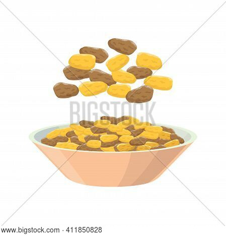 Raisins From Different Grapes In Dish. Grape Product, Vector Illustration Isolated On White Backgrou