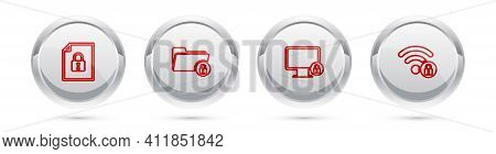 Set Line Document And Lock, Folder, Lock On Monitor And Wifi Locked. Silver Circle Button. Vector