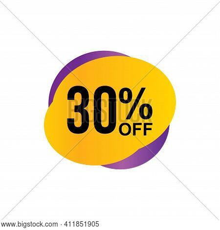 30% Sale Tag Vector Badge Template, 30% Sale Label Collection, Clearance Sale Sticker Emblem, Bargai