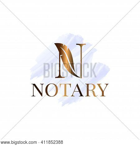 Letter N With Feather Notary Watrecolor Logo