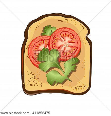 Toast With Tomatoes And Parsley. Vector Illustration.