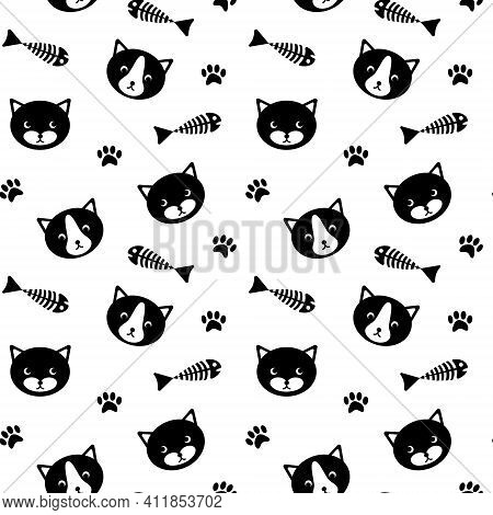 Seamless Pattern With Cute Cat Faces, Fish Bones And Paw Prints. Simle Black Silhouettes On White Ba