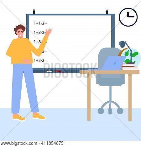 Teacher, Professor Standing In Front Of Blank School Blackboard Vector Illustration. The Teacher Wri