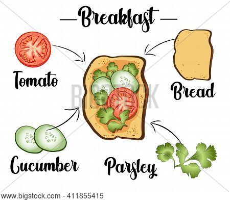 Toast With Tomatoes, Pepper, Cucumbers And Parsley, Ingredients Of The Toast, Recipe. Vector Illustr