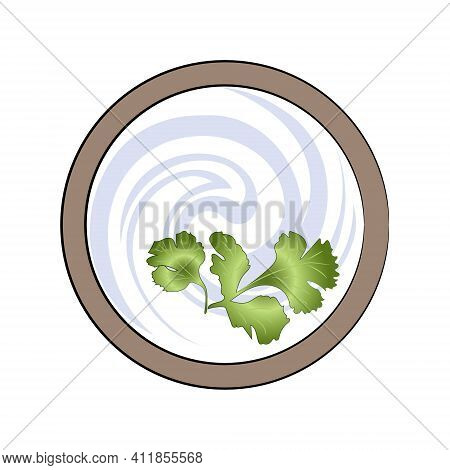 Bowl With Sour Cream And Parsley, Top View. Vector Illustration.