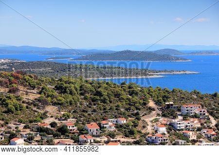 Kornati Islands And Croatian Town. Razanj Town In Dalmatia - Beautiful Mediterranean Coast Landscape