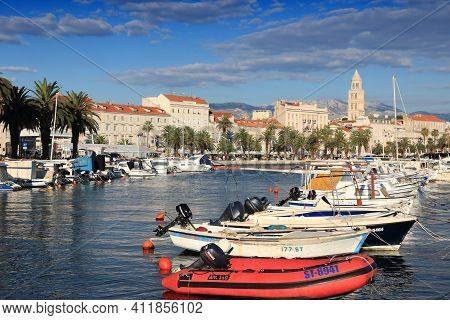 Split, Croatia - September 16, 2012: Harbor In Split, Croatia. Split's Historic Center Is A Unesco W