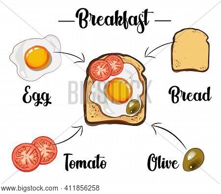 Toast With Scrambled Egg, Pepper, Tomatoes And Olive, Ingredients Of The Toast, Recipe