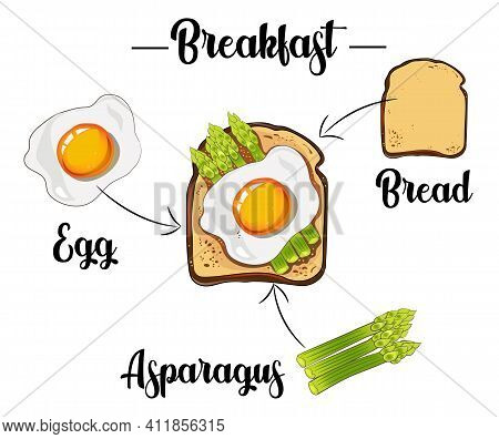 Toast With Scrambled Egg, Pepper And Asparagus, Ingredients Of The Toast, Recipe