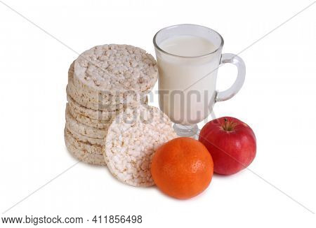 Glass and bottle of milk and mandarin. Isolated object on white background
