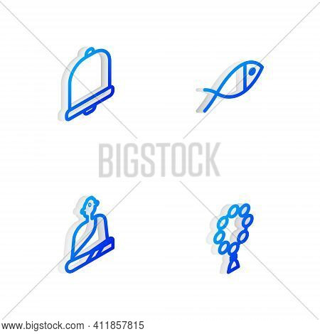 Set Isometric Line Christian Fish, Church Bell, Buddhist Monk And Rosary Beads Religion Icon. Vector
